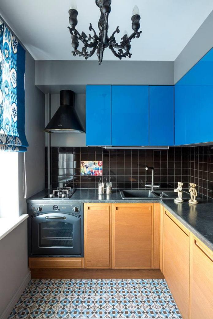 синие мебельные фасады