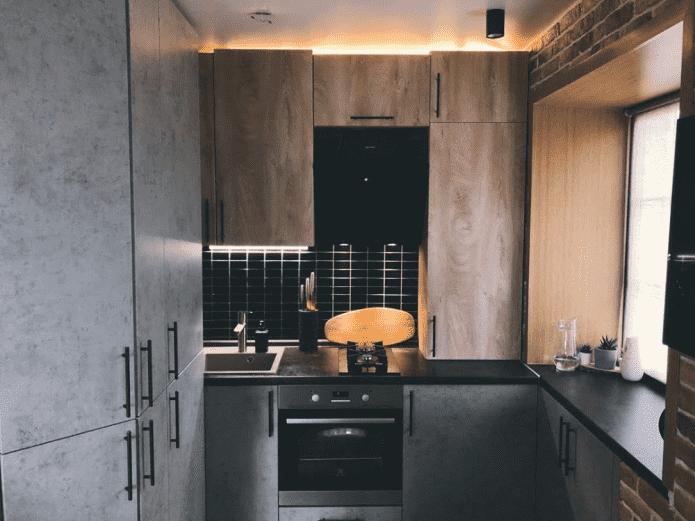 пример дизайна кухни в хрущевке в стиле лофт