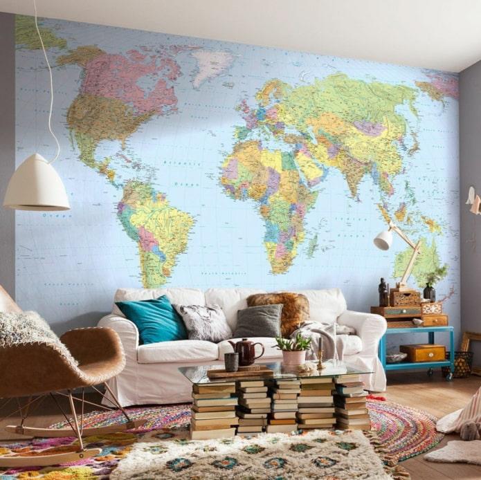 фотообои с картой мира