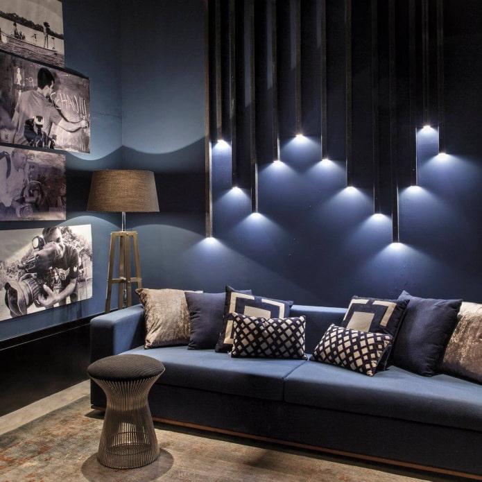 настенная подсветка над диваном