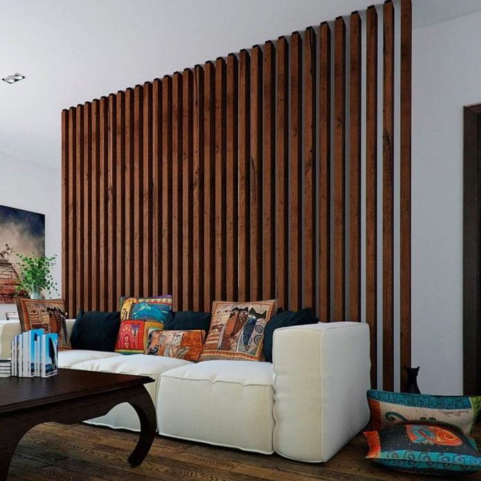декоративная стена из реек