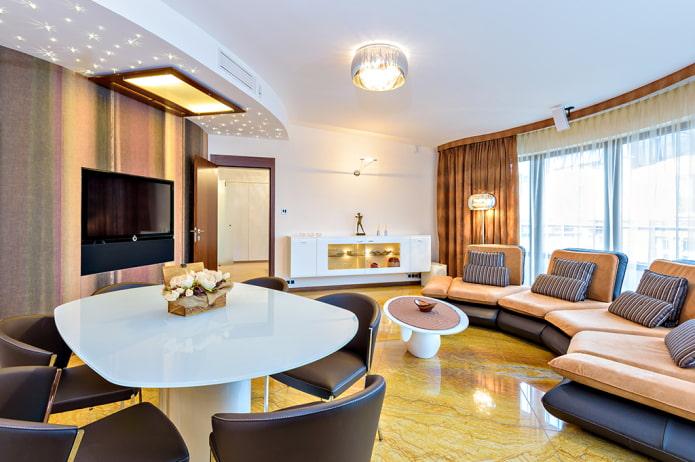 круговая расстановка мебели в гостиной