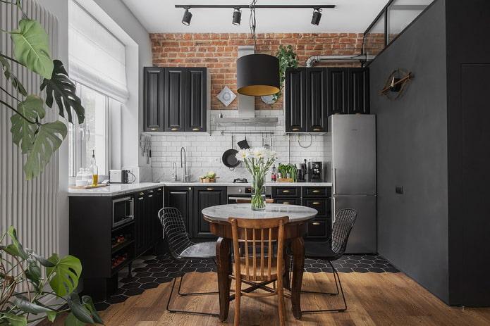кирпичная стена для кухни