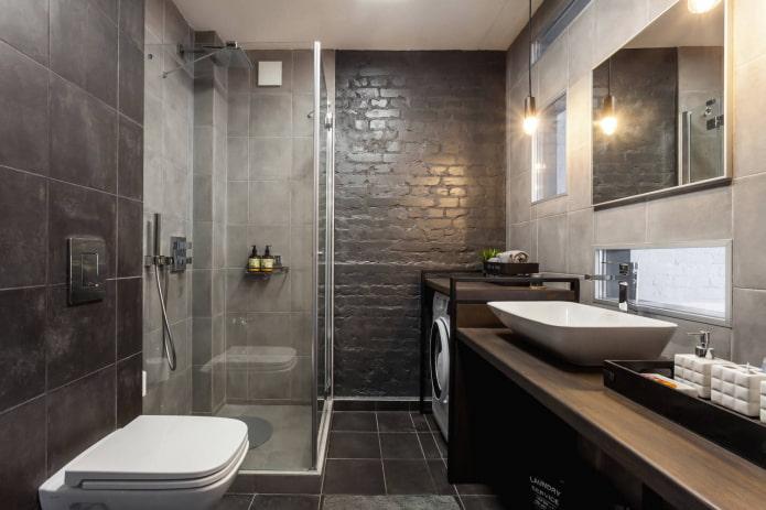 темная ванная лофт