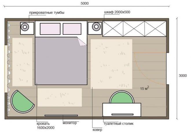 планировка спальни 15 кв