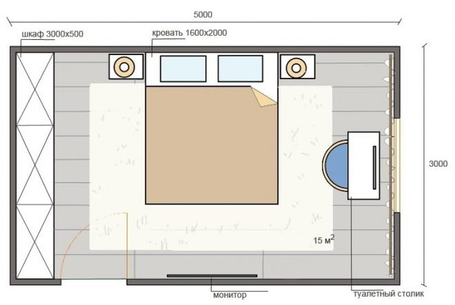 схема спальни 15 м