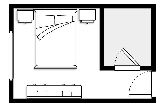 план спальни с гардеробной