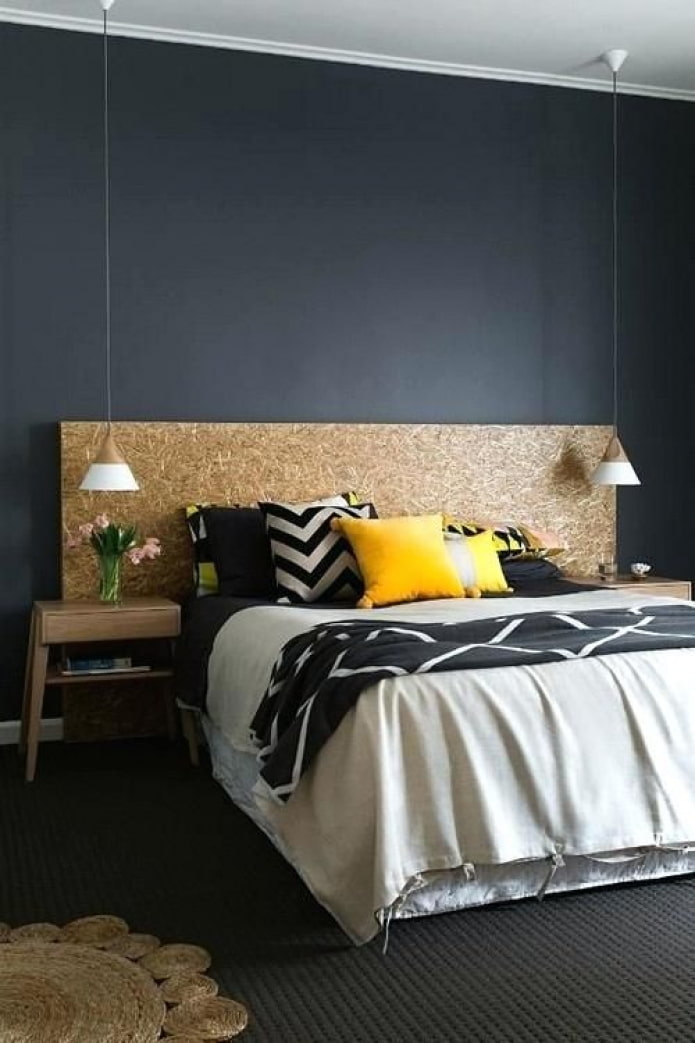 черно-желтая спальня