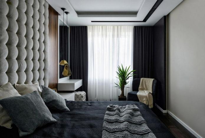 темный текстиль для спальни