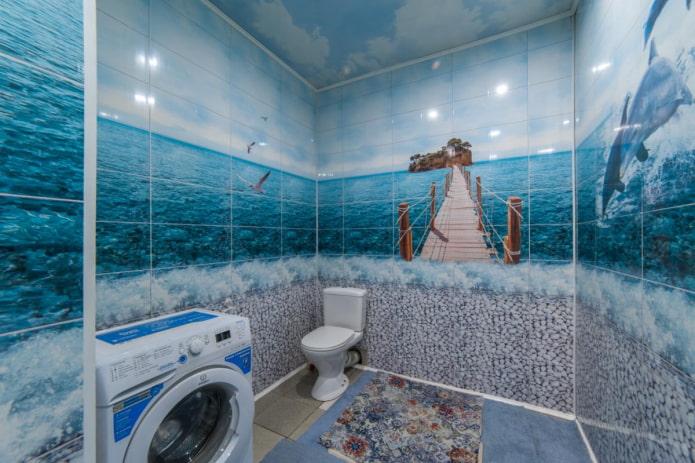 панели с фотопечатью в ванной