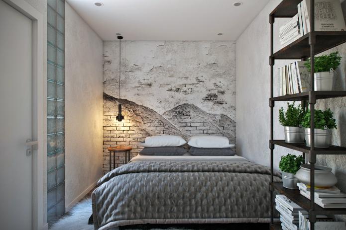 черно-белые фотообои на стене в спальне, оформленной в стиле лофт