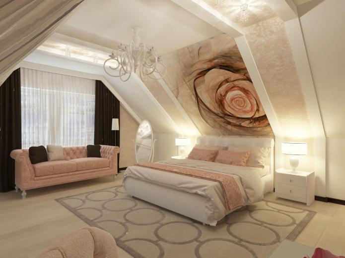 фотообои на стене в спальне с рисунком розы