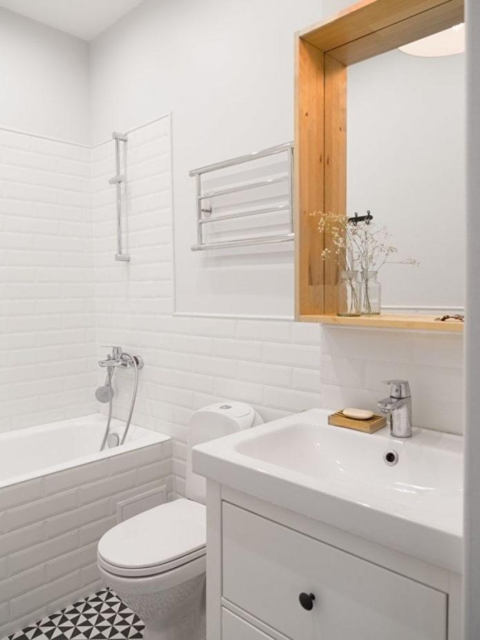 плитка кирпич в ванной