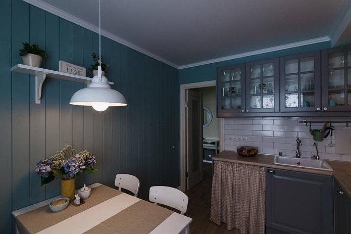отделка стен кухни деревом