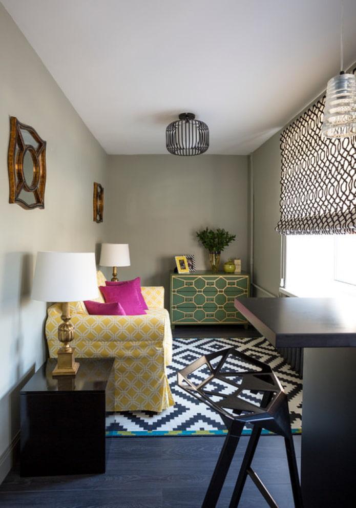 яркая мебель в зале
