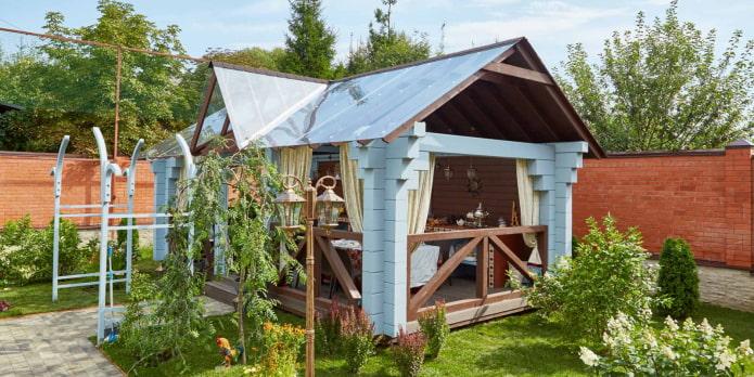 отдельностоящая кухня в саду