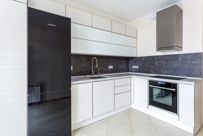 кухня с вытяжкой в стиле минимализм