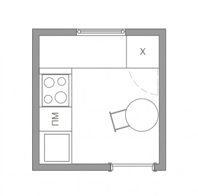 план кухни 4 квадрата