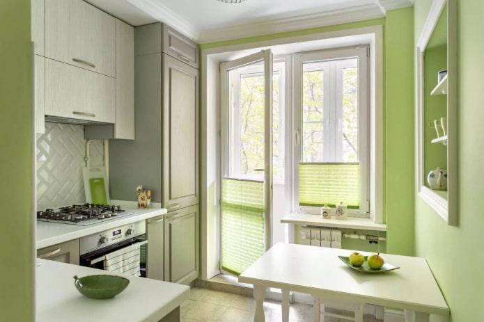 кухня в зеленой гамме