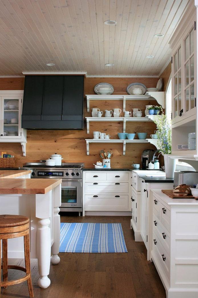 деревянные стены в кухне