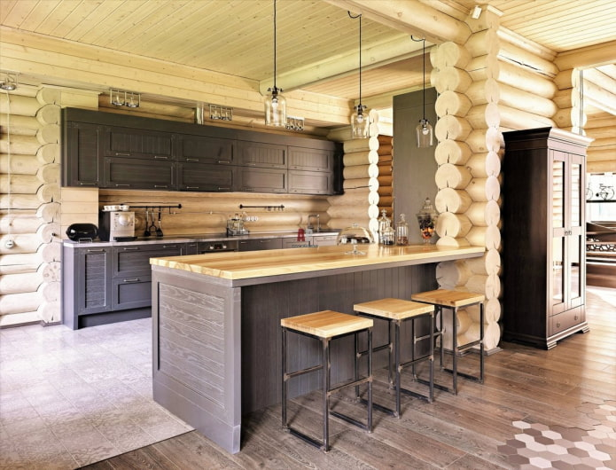 полуостров между кухней и гостиной