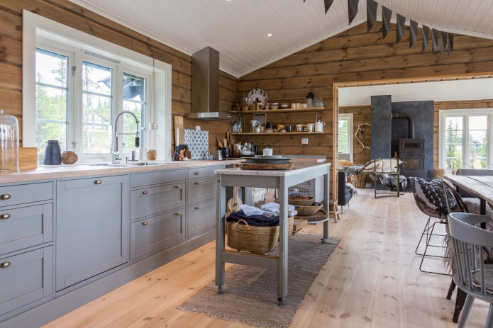 серая мебель в кухне