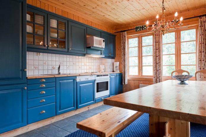 Синяя линейная кухня