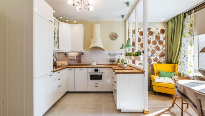 Зонирование кухни в доме