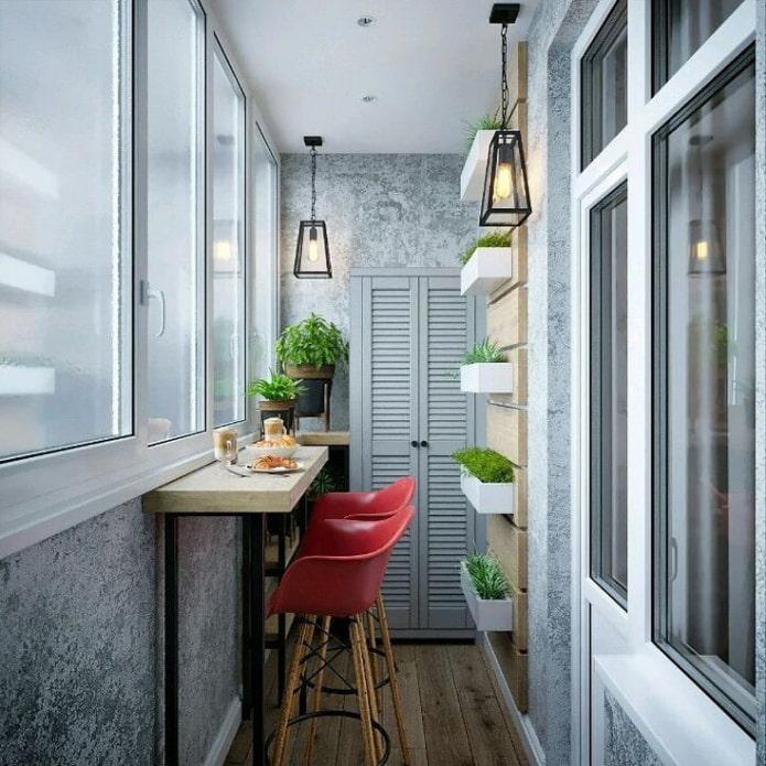 Балкон с барной стойкой в стиле лофт