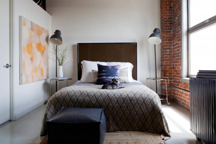 Торшеры в спальне в стиле лофт
