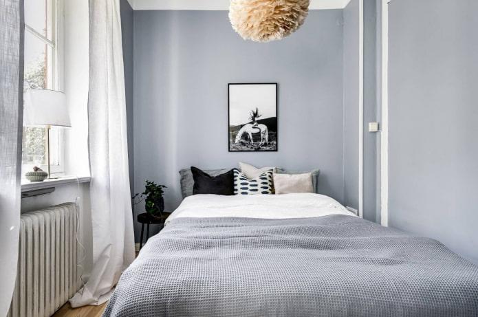 светлая спальня в стиле сканди