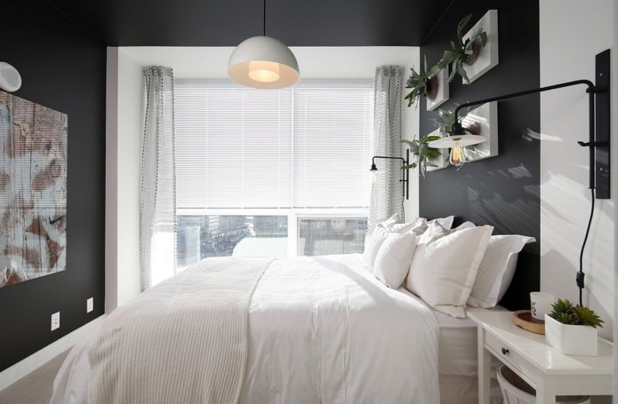темные стены в маленькой спальне