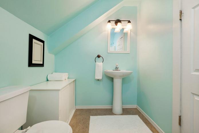 Окрашенные стены и потолок в ванной комнате
