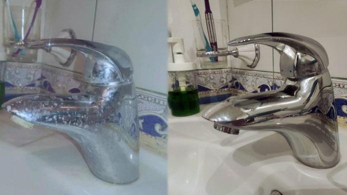 Кран до и после чистки уксусом