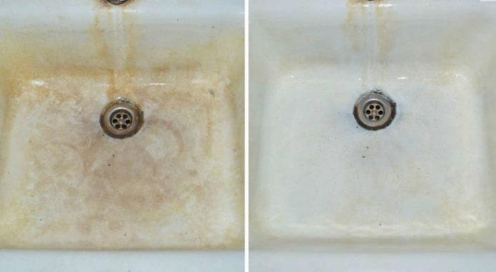 Раковина до и после обработки лимонной кислотой