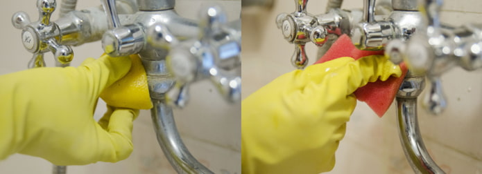Обработка смесителей лимоном от известкового налета