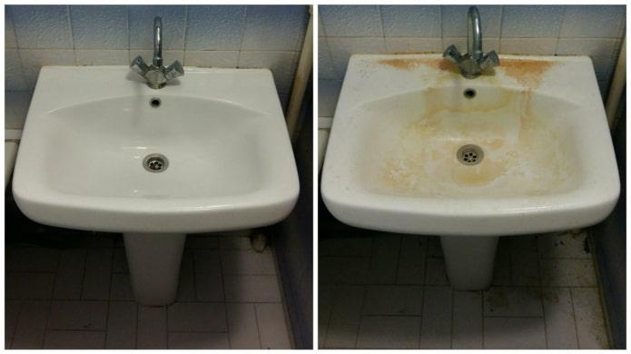 Раковина до и после чистки Белизной