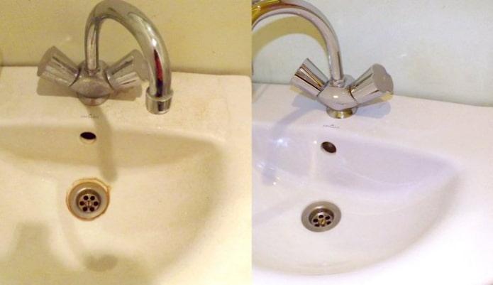 Раковина до и после обработки средством Domestos
