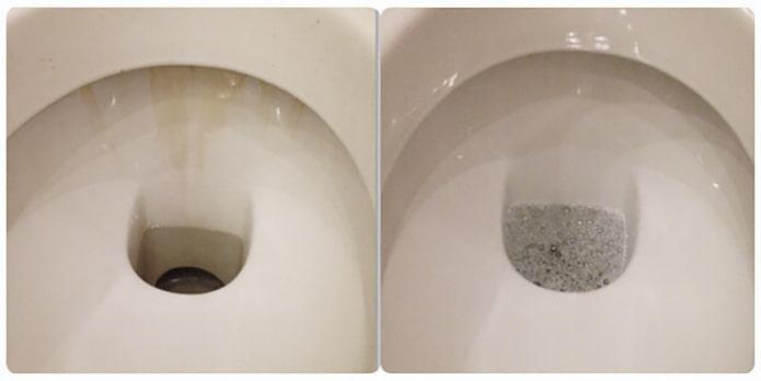 Унитаз до и после чистки борной кислотой