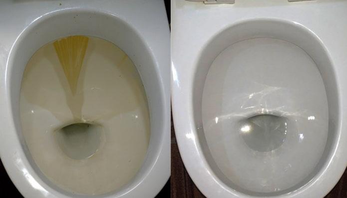Унитаз до и после чистки средством Domestos