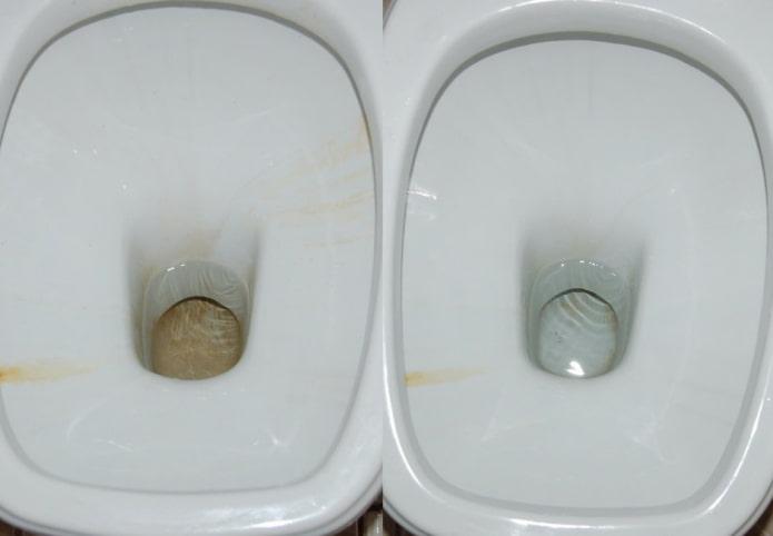Унитаз до и после очистки лимонной кислотой