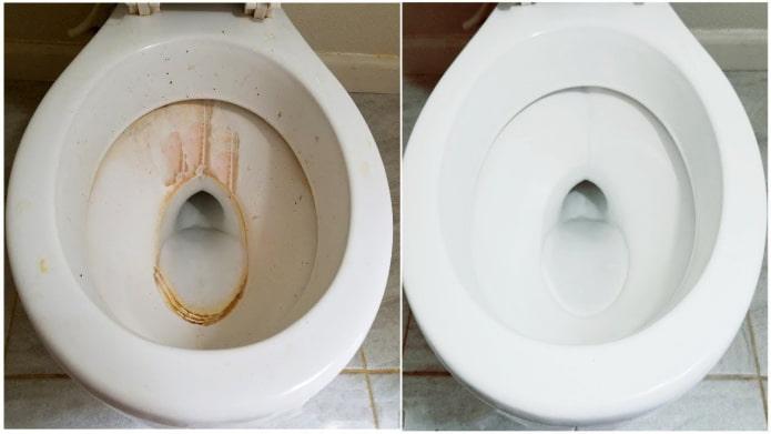 Унитаз до и после чистки гелем Cillit BANG