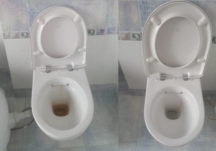 Унитаз до и после чистки содой и уксусом