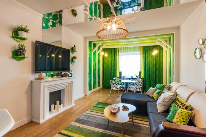 яркая гостиная с зелеными акцентами