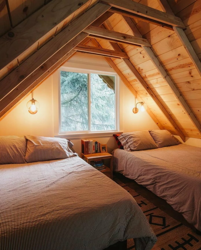 уютная спальня на чердаке