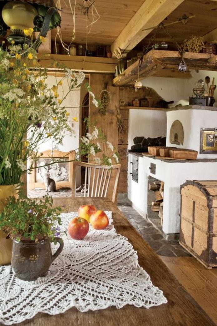 гостиная с печкой в саду
