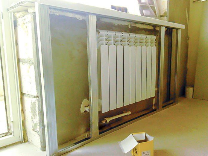 Установка каркаса для радиатора