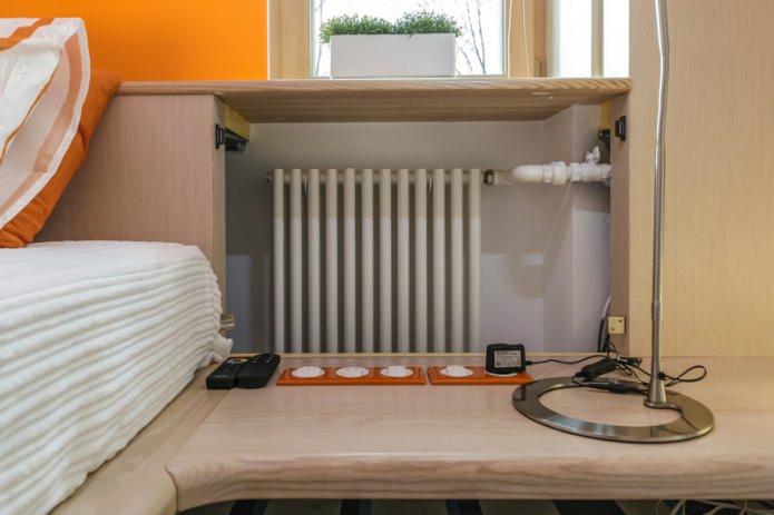 Как спрятать батареи и трубы отопления: топ 15 способов, 95 фото в интерьере