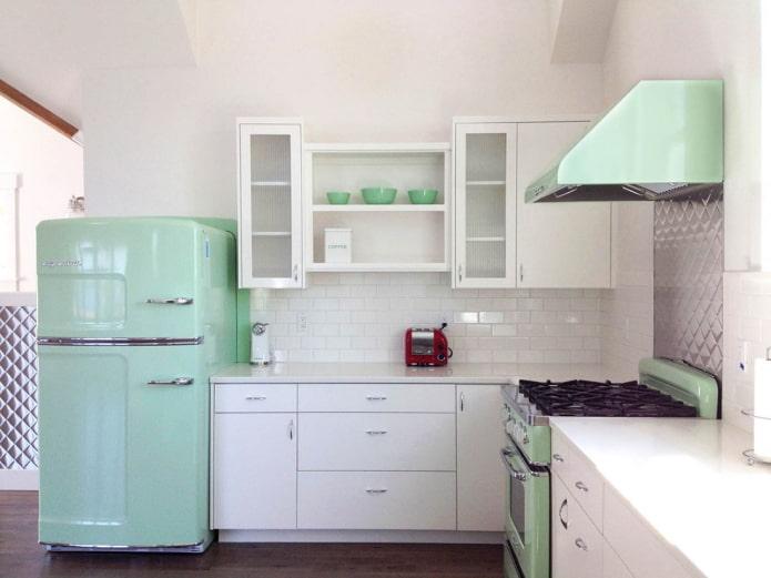 кухонная техника мятного цвета