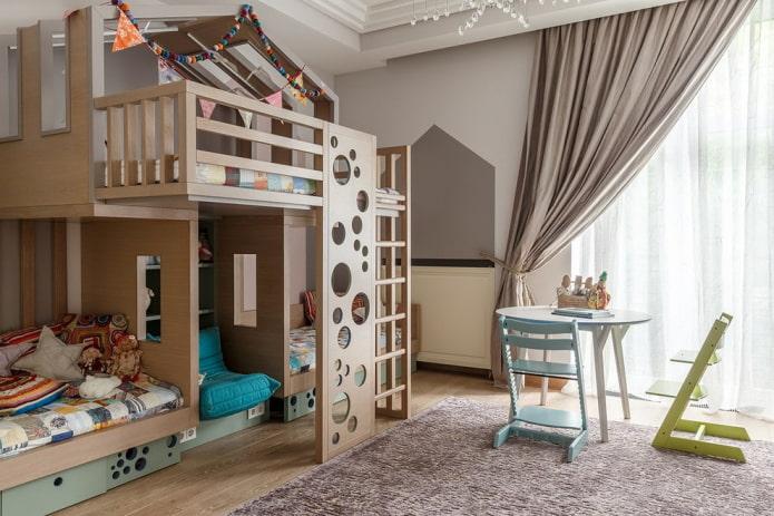 двухэтажная кровать в интерьере